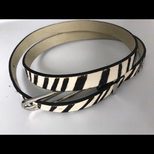 Skinny belt with silver buckle leather zebra print